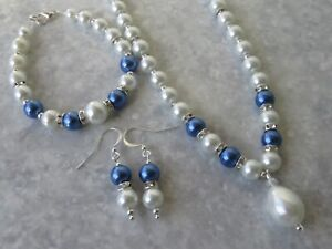 Glass Pearl Necklace Bracelet and Earring Set  wedding  bridal  bridesmaid