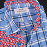 Soft Flannel Polo Style Spread Collared Buton Up Casual Dress Shirt Blue Red B2B