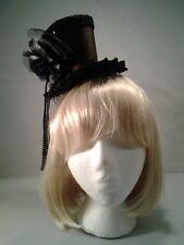 Brown Mini Top Hat w/ Headband Steampunk Victorian Burlesque Cosplay Adult Size