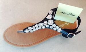 """NWT - size 7 sandals / dress thongs - black with jewel trim - by """" Miss Shop """""""