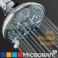 AquaDance Antimicrobial 6 Setting Blue High Pressure Adjustable Shower Head