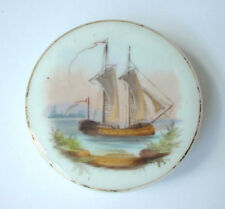Antique Hand Painted Ship on Porcelain Box Cream Jar Pot Lid