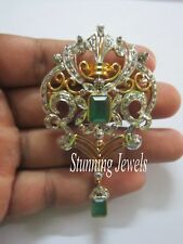 New Vintage Reproduction 3.90ct Rose Cut Diamond Silver Emerald Trendy Brooch