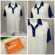 "Puma Golf Shirt L White Polo Short Sleeve ""St. Albans� Euc Ygi V9-57"