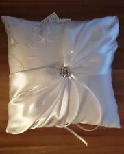 Wedding Ceremony Satin Crystal Lace Flower Ring Bearer Pillow Cushion Holder