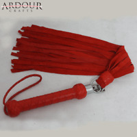 Genuine Cow Hide Suede Leather Red Flogger 26 Falls Heavy Leather Revolving Whip