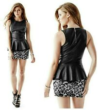 💞💕 GUESS SLEEVELESS FAUX-LEATHER PEPLUM TOP 💕💞