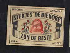 Ancienne  étiquette allumettes Belgique  BN8329 Ruche Abeilles