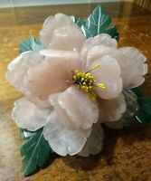 Vintage Chinese Carved Pink Rose Stone Flowers And Jade Stone Leaves