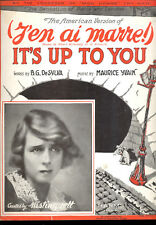 "MISTINGUETT Sheet Music ""It's Up To You (J'en Ai Marre)"""