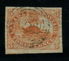Canada 1852 Pence Beaver 3d thin paper Pre Printing Paper crease #4d used