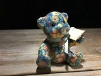 "Joan Baker Porcelain Patchworks Bear Blue Sprint 5"" Tall"