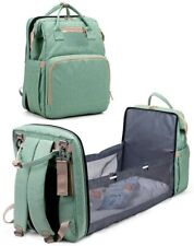 Baby Changing Bag 3-In-1 Travel Baby Diaper Bag Folding Crib Turquoise New Gift