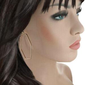 "Ky & Co Rose Gold Tone Big Hoop Earrings Hexagon Geometric 2 1/4"" Made USA"