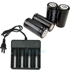 4LOT CR123A 123A CR123 16340 2000Mah Rechargeable Battery BTY Black + UL Charger