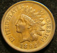 1892 Indian Head Cent AU+++ S-6 Jeweled Forehead variety CH. Almost Unc. SNOW 6