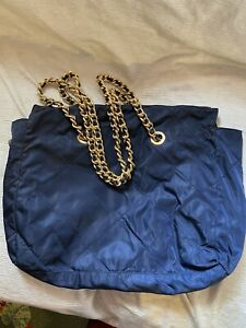 Prada navy nylon leather chain tote handbag shoulder bag