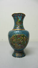 "BEAUTIFUL ANTIQUE CHINESE PLIQUE A JOUR CLOISONNE ENAMEL RETICULATED 5"" VASE"