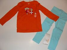 Gymboree Holiday Cozy Cutie Girls Size 3 Orange Shirt Top Blue Leggings NWT NEW