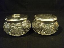 CUT GLASS HAIR RECEIVER & DRESSER BOX, R. BLACKINTON & CO. STERLING SILVER LID