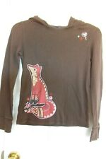 GAP KIDS BROWN HOODED LONG SLEEVE TOP EMBROIDERED FOX SIZE XL (12) FREE SHIPPING