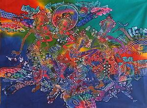 Abstract Dancers Painting Batik Art.