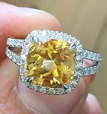 14K White Gold Cushion Yellow Citrine Round Diamond Ring Split Shan Halo 3.50ctw