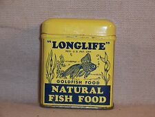Vintage Longlife Fish Food Tin Container Aquarium Pet Store Old Great Graphics