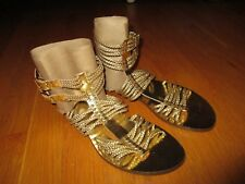 New Ladies J. Crew Gold Braided Gladiator Sandals Size 7