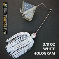 Buzzbait STEALTH 3/8 oz WHITE HOLOGRAM buzz bait buzzbaits. KVD trailer hook