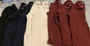 Lot Of 8 French Toast Boys Long Sleeve Shirts Size  10-12 Navy, Wine and White