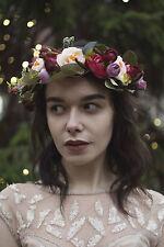 Pink Cream Rose Ranunculus Flower Hair Crown Headband Wreath Bridesmaid Boho S36