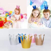 6 Pcs Kids Adult Happy Birthday Paper Hats Cap Prince Princess Crown Party Decor