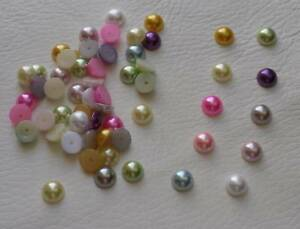9mm Flat Back Pearls, Embellishments, Mixed, Various Colours, Half Round
