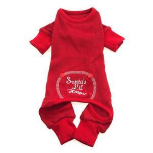 Doggie Design Santa's Little Helper Dog Thermal Pajamas Red XS-S-M-L