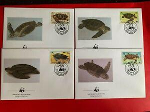 ANGUILLA 1983 FDC x 4 WWF SEA TURTLES