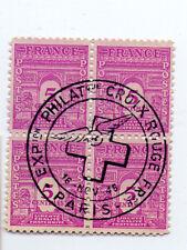 Bloc de 4 timbres France Tampon Croix Rouge Paris 1946