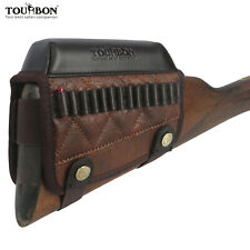 Tourbon Shooting Cheek Rest Comb Riser .22LR Ammo Holder Case Vintage PU Leather