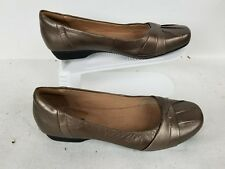 WOMENS CLARKS COLLECTION CUSHION SOFT COMFORT BROWN LEATHER WORK SHOES SIZE 10M