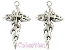 2 antique silver charms pendentif croix tribal-grand 62 mm par rapport-LF CF