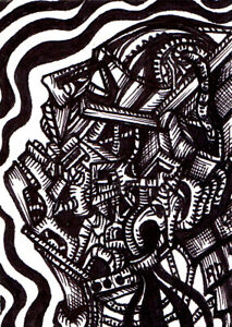ORIGINAL ART   ACEO   Outsider Abstract Drawing   FALSE REALITY