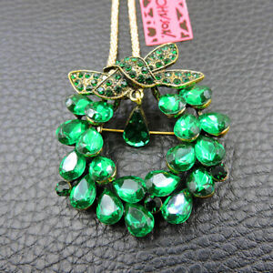 Green Rhinestone Crystal Wreath Pendant Betsey Johnson Necklace/Brooch