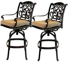 Patio outdoor living cast aluminum bar stools set of 2 swivel Flamingo Bronze