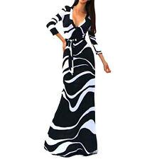 US Lady Women Striped Fashion V-Neck 3/4 Sleeve Wrap Waist Long Maxi Dress M