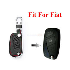 3 Button Remote Fob Bag Holder PU Leather Car Key Cover Case For Fiat 500 500L