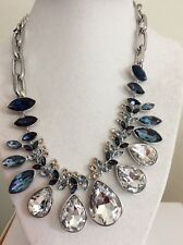 $375 Givenchy  Blue Ombra Crystal Statement Necklace 206B