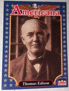 FUN EDUCATIONAL FACTS 1992 Americana Mint Cond. Trading Card THOMAS EDISON #46
