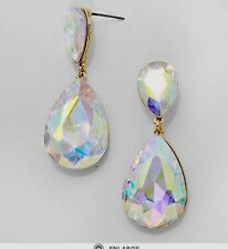 "1.75""  Aurora Borealis AB Austrian Crystal Pageant Bridal Earrings Formal Gold"