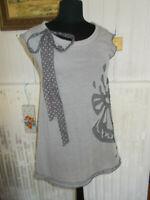 Robe tunique grise COP COPINE genesis T. 2-38  Coton/polyester surpiqué fleur