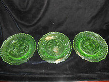 SET 3 Green Vaseline Rose Eagle Horn pattern glass plates uranium Flowers floral